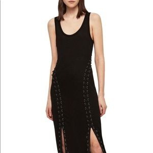 All Saints side corseted black dress